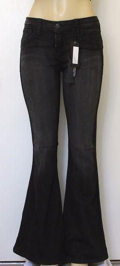 NWT BLEULAB Jeans Reversible Curve Flare Womens Denim Black Pumice Wash 30 Long #Bleulab #Flare
