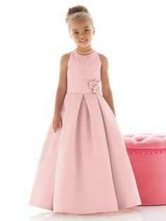 Favourite 11 -  Nectarean Ball Gown Straps Hand Made Flowers Floor-length Satin Flower Girl Dresses