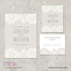 wedding invitation lace romantic modern Love & Lace by minkcards