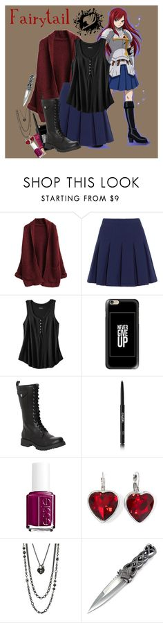 """""""Erza Scarlet"""" by steady-smile ❤ liked on Polyvore featuring Diane Von Furstenberg, Merona, Casetify, Volatile, Chanel, Too Faced Cosmetics, Essie, Lane Bryant and steadyanime"""