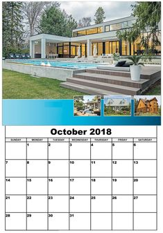 Wall Calendar October 2018 Wall Calendar Design, Calendar 2018, Hello Autumn, Layout Design, October, Floor Plans, Outdoor Decor, Home Decor, Decoration Home