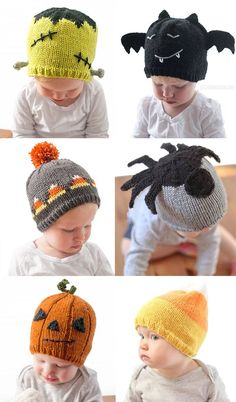 d4c1867c30e Knitting Patterns for Halloween Baby Hats - Adorable baby hats with  Halloween themes such as jack