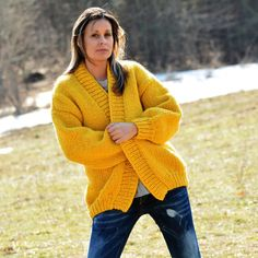 **** Hand Knitted Chunky SOFT WOOL Cardigan Oversized Jacket **** * CREATED & DESIGNED by EXTRAVAGANTZA * -------------------------------------------------------------------------------------------------- CHOOSE YOUR OWN COLOR & CREATE AN ULTIMATE GARMENT FOR YOURSELF !