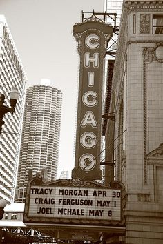 Chicago Theater. Marquee of Chicago landmark, built in 1921. Sepia tones give it an old time look.