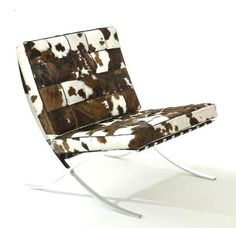 LUXE Brown & Ivory Natural Hide Barcelona Chair Courtesy of InStyle-Decor.com Beverly Hills Inspiring & supporting Hollywood interior design professionals and fans, sharing beautiful luxe home decor inspirations, trending 1st in Hollywood Repin, Share & Enjoy