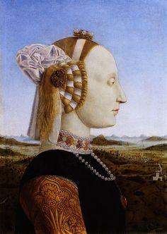 Ritratto di Battista Sforza Autore:Piero della Francesca Data:1465-1472 circa Dove-originariamente:Palazzo Ducale Urbino Dove-attualmente:Galleria degli Uffizi Firenze