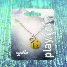 Customized Enamel Softball Heart Necklace - Personalize with Softball Jersey Number, Letter, or Heart Color! Softball Jewelry, Basketball Necklace, Softball Gifts, Softball Party, Softball Players, Woven Bracelets, Bracelets For Men, Jewelry Show, Jewelry Necklaces