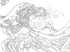 No Wave, Great Wave Off Kanagawa, Japanese Waves, Japanese Art, Outline Drawings, Art Drawings, Tattoo Outline, Colouring Pages, Coloring Books