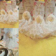 Angelitos de encaje y broderie. Realizados a mano.  Diseño exclusivo de Azúcar, Hogar y Diseño.