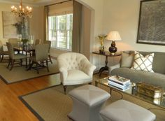 Love this mix of beige and greige. Living room by Phoebe Howard