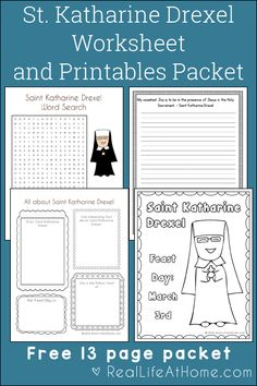 Free 13-page Saint Katharine Drexel Printables and Worksheet Packet