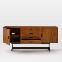 "74.5""W 18.5""D 34""H | $1199 | west elm Lars Mid-Century Buffet – Large | Solid mango wood in a Chestnut + Dark Wood finish."