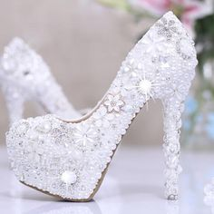 $95.99 Dresswe.com SUPPLIES Luxurious Diamond Flowers White Pearl Closed Toe Stiletto Heel Wedding Shoes