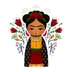 "372 Me gusta, 9 comentarios - Anita Ashfield-Salter (@monkeymindesign) en Instagram: ""A new ""Saint Frida"" piece. Inspired by wooden peg dolls. #saintfrida #fridakahlo #fridaart…"""