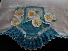 pano de prato cesta de croche com flores         pano de prato cesta de croche com flores margaridas        pano de prato cesta de cro...
