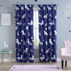 "Aubrie Home Navy Unicorn 84"" Window Curtains 2 Panel Pair Set, Blue Purple Teal Flowers - GreyDock.com Decor, Blue Backdrops, Teal Flowers, Curtains, Paneling, Window Curtains, Blue And Purple, Home Accents, Purple Teal"