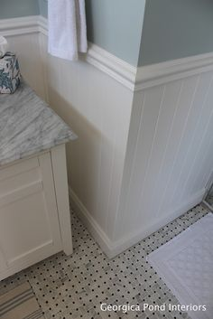 GEORGICA POND Interiors wainscoting. Like the tile and wall color. Similar to tile in upstairs bathroom