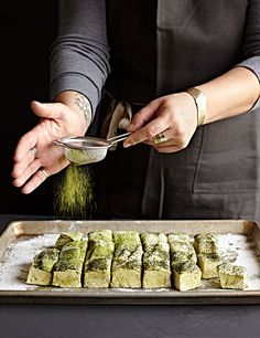Recipe for homemade peppermint chocolate marshmallows with candy recipe for homemade honey matcha marshmallows womans hand sprinkling matcha powder over homemade forumfinder Image collections