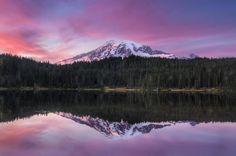 Sunset Reflection over Mount Rainier by Meleah Reardon, via 500px
