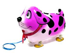 PartynBalloon ™ Cute Purple Spot Dog Walking Animals Pet Party Helium Balloon P0028 Mobile Phone Apps Special Edition
