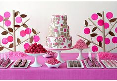 Ok, pick your jaw up off the floor! What you see here is an expertly designed dessert table by Amy Atlas, a highly sought after New York party planner. Yes folks, that is a lollipop tree and those other stick. Dessert Bars, Buffet Dessert, Pink Dessert Tables, Candy Buffet, Pink Table, Dessert Ideas, Gold Dessert, Candy Dishes, Desserts Roses