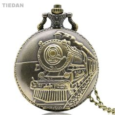 TIEDAN for Unisex Gifts High Quality Vintage Train Design Bronze Quartz Pocket Watches Antique Fob Watch with Pendant Necklace  #Affiliate