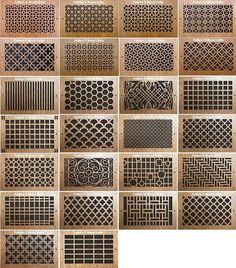 Pattern Cut Wood Grills for sliding above storeage doors: