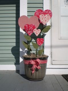 For those who live in warm weather - outside valentines pots. Can cover foam or wood hearts with fabric or paint.