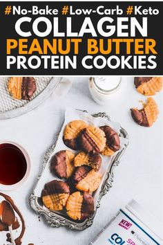 These no-bake Peanut Butter Collagen Protein Cookies are the perfect way to get your daily collagen dose! High Protein Snacks, Diet Snacks, Healthy Snacks, Healthy Protein, Protein Foods, Healthy Baking, Peanut Butter Protein Cookies, Healthy Cookies, Delicious Cookies