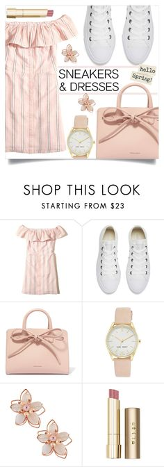"""""""Untitled #1322"""" by kaymeans ❤ liked on Polyvore featuring Hollister Co., Converse, Mansur Gavriel, Nine West, NAKAMOL and Stila"""