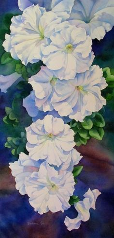 SUNLIT PETUNIAS flower watercolor painting, painting by artist Barbara Fox