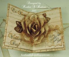 By Heather A. Hudson. Rose popup card. Link to template created by Debbie: http://paperpulse.blogspot.com/2013/06/everything-is-coming-up-roses.html