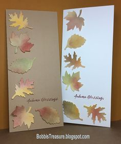 Distress Ink punched leaves with Marvy Autumn Blessings fall Thanksgiving card