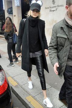 Gigi Hadid leaving her Hotel in Paris, December 16, 2015.