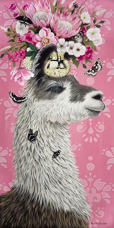 Fabulous Llama by Heather Gauthier Alpacas, Llama Arts, Llama Alpaca, Watercolor Animals, Animal Paintings, Pet Portraits, Pet Birds, Art Drawings, Illustration Art