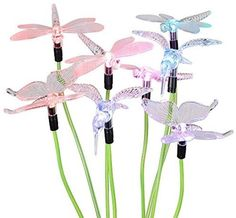 2 Sets [4LED Version] Hallomall? Solar Powered Color Changing Outdoor Stake…