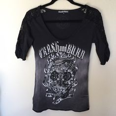 Crash & Burn embellished skull top with lace Crash & Burn embellished skull top with lace shoulders. Good condition Crash & Burn Tops Tees - Short Sleeve