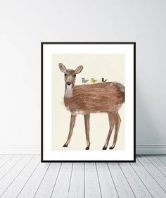 little red deer. baby animal portraits.nature wall art. wall