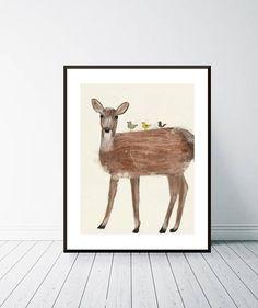 little red deer. Animal Portraits, Red Deer, Baby Deer, Little Red, Watercolours, Baby Animals, Moose Art, Wall Art, Handmade Gifts