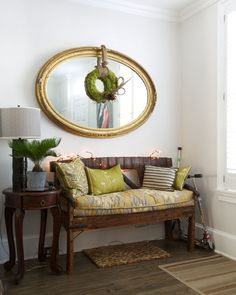 Anna & Joe's Living History in Georgetown House Tour -- moroccan? fabric on window bench/nook cushion