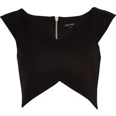River Island Womens Black wrap crop top from River Island Clothing. Shop more products from River Island Clothing on Wanelo. Formal Crop Top, Crop Top Noir, River Island Fashion, Wrap Front Top, Island Shirts, Fade Styles, Rock Shirts, Wrap Shirt, Going Out Tops