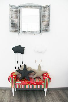 I need that mirror! Diy Stuff, Cool Stuff, Dark Cloud, Clouds Nursery, Moon Decor, Child Room, Kid Furniture, Kid Spaces, Art Therapy