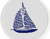 Instant download,free shipping,Counted Cross stitch pattern,Cross-Stitch PDF, sailboat,zxxc0359