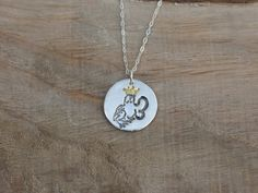 Kissing Frog fine silver pendant - 22K gold by ALMrozarka on Etsy