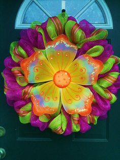 Spring Deco Mesh Wreath by JustMeshingAround on Etsy