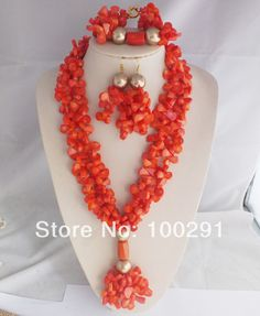W-112 New African Wedding Coral Beads Jewelry Set Necklace Bracelet And Earrings  $88.32