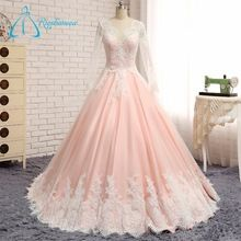 2017 Best Selling Long Sleeve Pink Luxury Wedding Dress