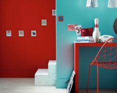peinture attitude de ripolin chez leroy merlin, coloris cerise et turquoise