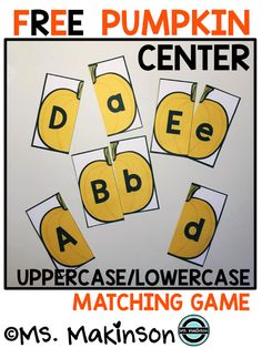 FREE Pumpkin Center - Uppercase/Lowercase Letter Matching (Ms. Makinson)