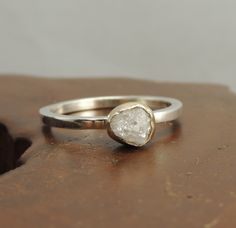 White Uncut Diamond Engagement Ring, 14k Gold and Sterling Silver Rough Diamond Ring, Handmade Diamond Engagement by PointNoPointStudio on Etsy https://www.etsy.com/listing/162460445/white-uncut-diamond-engagement-ring-14k